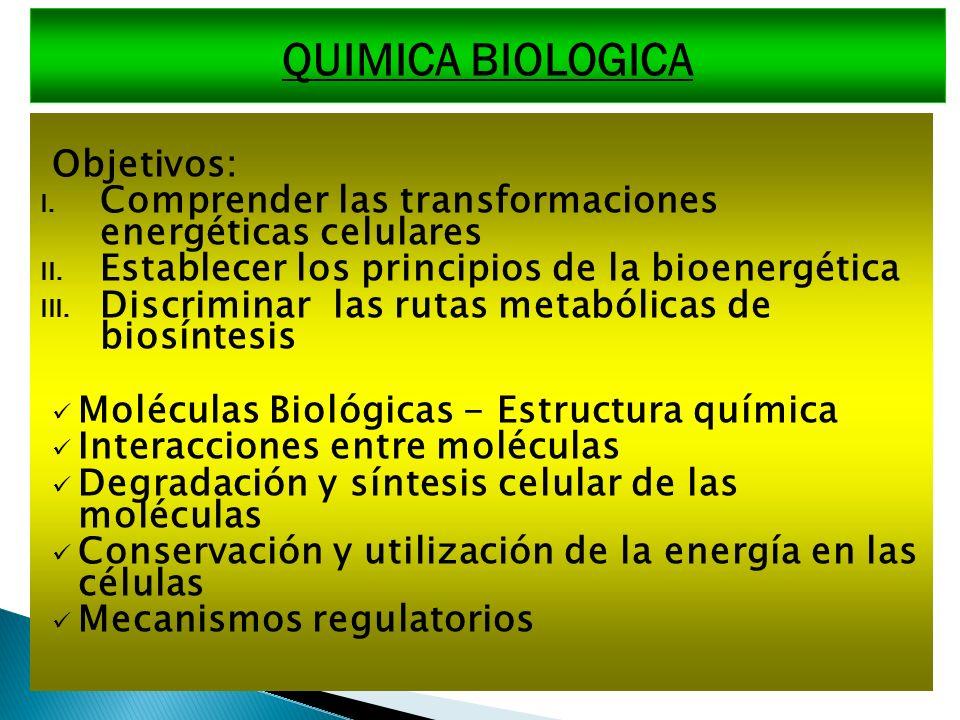 QUIMICA BIOLOGICA Objetivos: I. Comprender las transformaciones energéticas celulares II. Establecer los principios de la bioenergética III. Discrimin