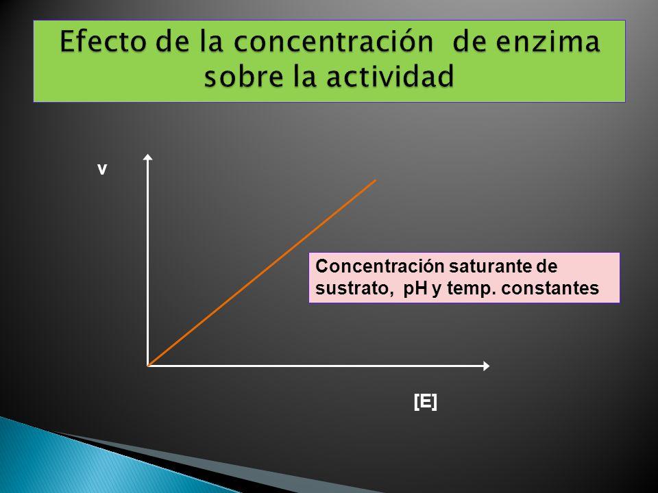 [E] v Concentración saturante de sustrato, pH y temp. constantes