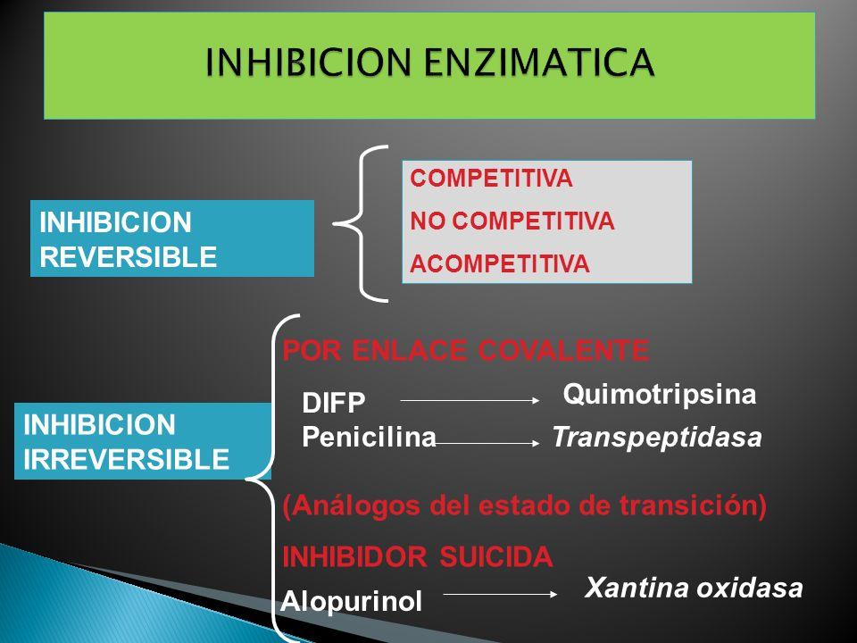INHIBICION REVERSIBLE INHIBICION IRREVERSIBLE COMPETITIVA NO COMPETITIVA ACOMPETITIVA POR ENLACE COVALENTE (Análogos del estado de transición) INHIBID