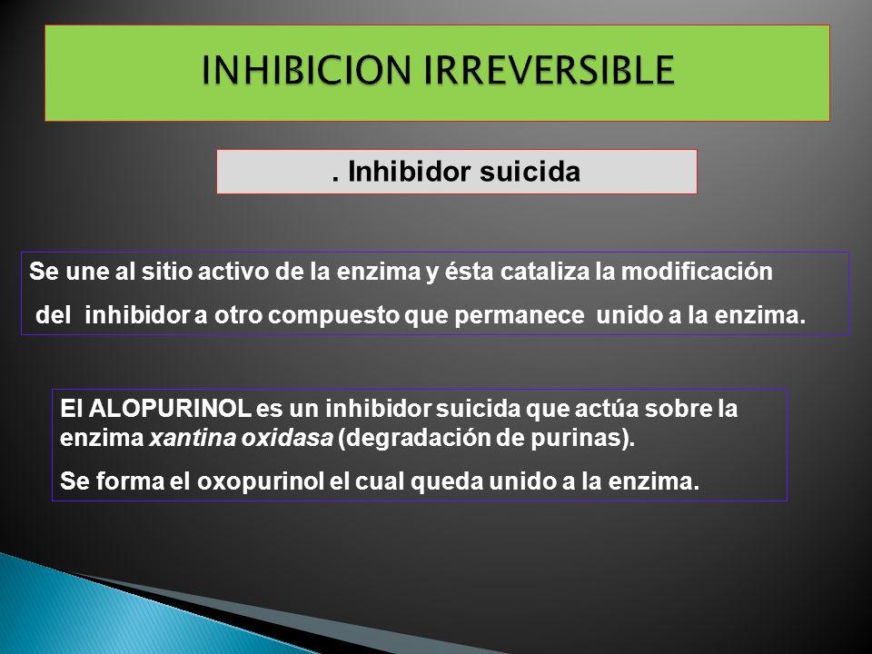 . Inhibidor suicida Se une al sitio activo de la enzima y ésta cataliza la modificación del inhibidor a otro compuesto que permanece unido a la enzima