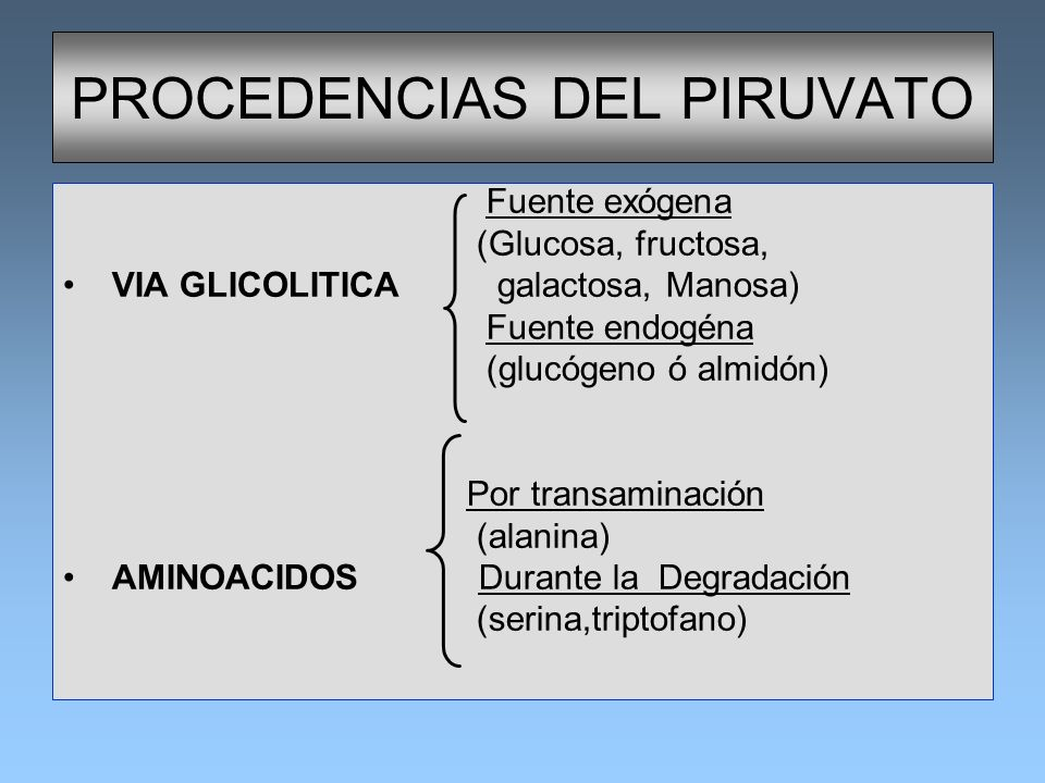 PROCEDENCIAS DEL PIRUVATO Fuente exógena (Glucosa, fructosa, VIA GLICOLITICA galactosa, Manosa) Fuente endogéna (glucógeno ó almidón) Por transaminaci