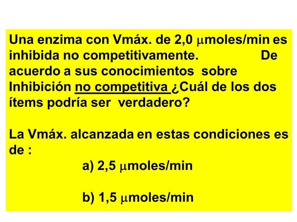 Una enzima con Vmáx. de 2,0 moles/min es inhibida no competitivamente. De acuerdo a sus conocimientos sobre Inhibición no competitiva ¿Cuál de los dos