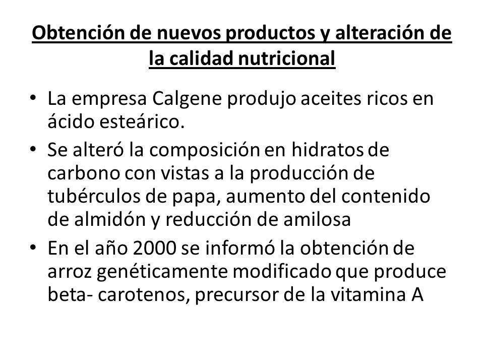 Obtención de nuevos productos y alteración de la calidad nutricional La empresa Calgene produjo aceites ricos en ácido esteárico. Se alteró la composi