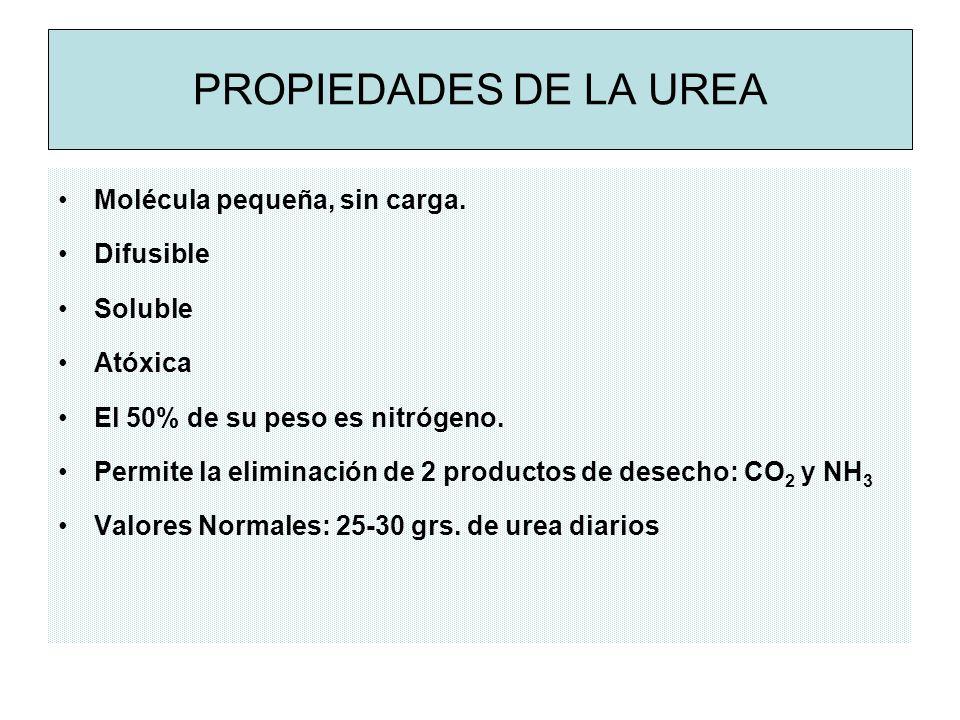 PROPIEDADES DE LA UREA Molécula pequeña, sin carga.