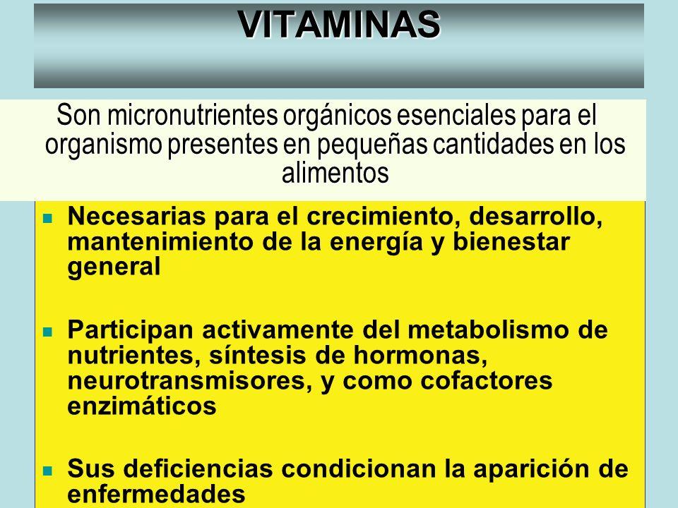 VITAMINAS Nuestro organismo no las sintetiza ó su síntesis es deficiente Necesarias para el crecimiento, desarrollo, mantenimiento de la energía y bie
