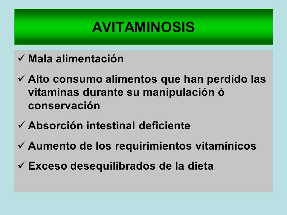 AVITAMINOSIS Mala alimentación Alto consumo alimentos que han perdido las vitaminas durante su manipulación ó conservación Absorción intestinal defici