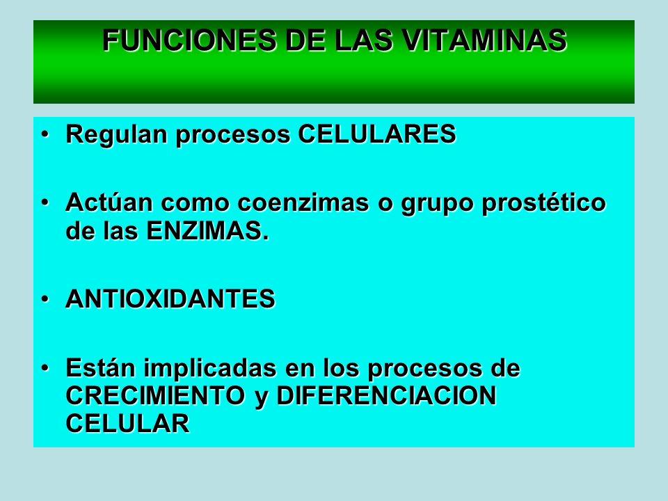 FUNCIONES DE LAS VITAMINAS Regulan procesos CELULARESRegulan procesos CELULARES Actúan como coenzimas o grupo prostético de las ENZIMAS.Actúan como co