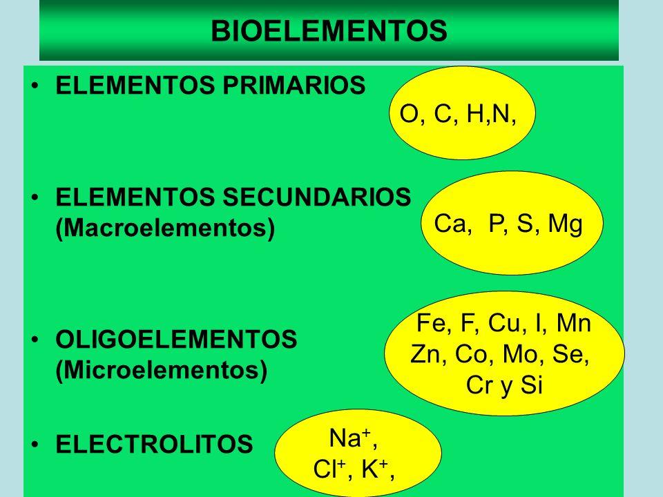 BIOELEMENTOS ELEMENTOS PRIMARIOS ELEMENTOS SECUNDARIOS (Macroelementos) OLIGOELEMENTOS (Microelementos) ELECTROLITOS O, C, H,N, Ca, P, S, Mg Fe, F, Cu