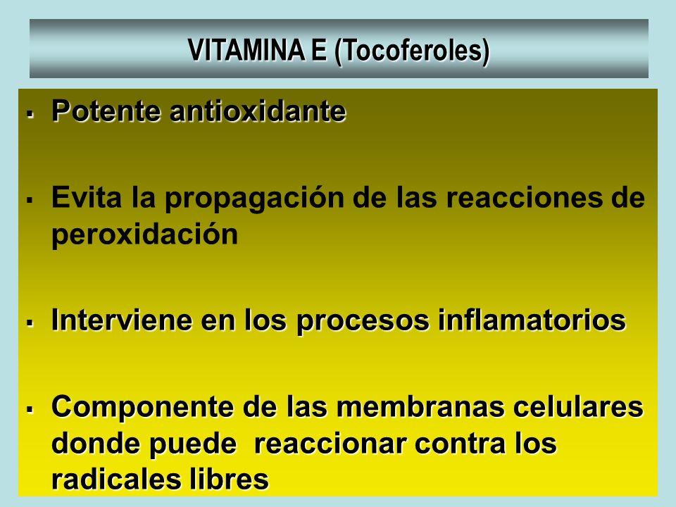 VITAMINA E (Tocoferoles) Potente antioxidante Potente antioxidante Evita la propagación de las reacciones de peroxidación Interviene en los procesos i