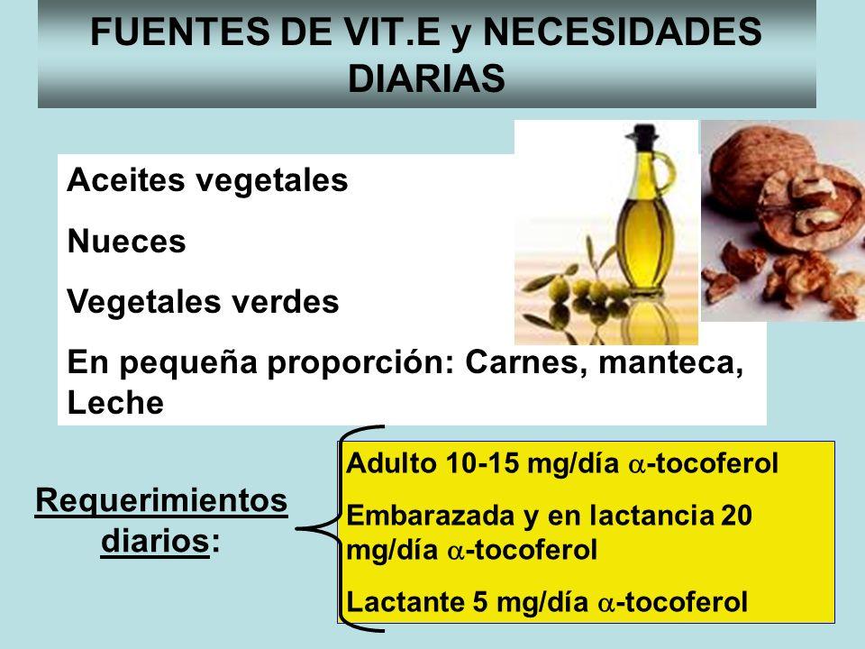 Requerimientos diarios: FUENTES DE VIT.E y NECESIDADES DIARIAS Aceites vegetales Nueces Vegetales verdes En pequeña proporción: Carnes, manteca, Leche