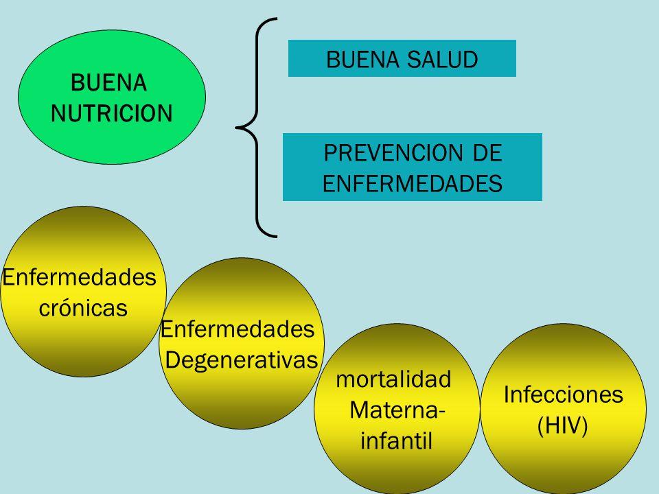 BUENA NUTRICION BUENA SALUD PREVENCION DE ENFERMEDADES Enfermedades crónicas Enfermedades Degenerativas mortalidad Materna- infantil Infecciones (HIV)