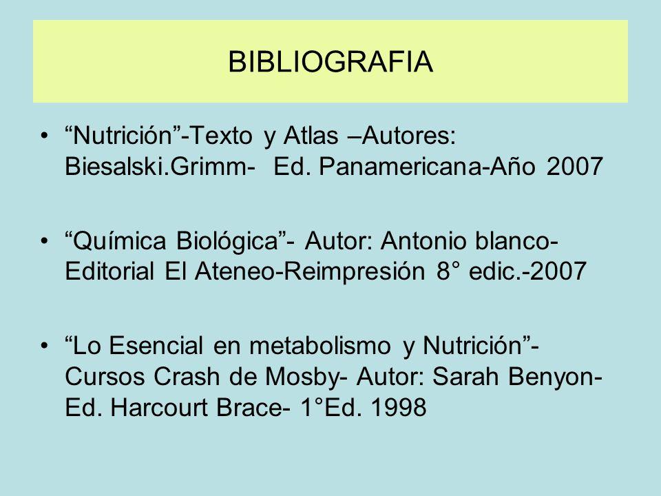BIBLIOGRAFIA Nutrición-Texto y Atlas –Autores: Biesalski.Grimm- Ed. Panamericana-Año 2007 Química Biológica- Autor: Antonio blanco- Editorial El Atene
