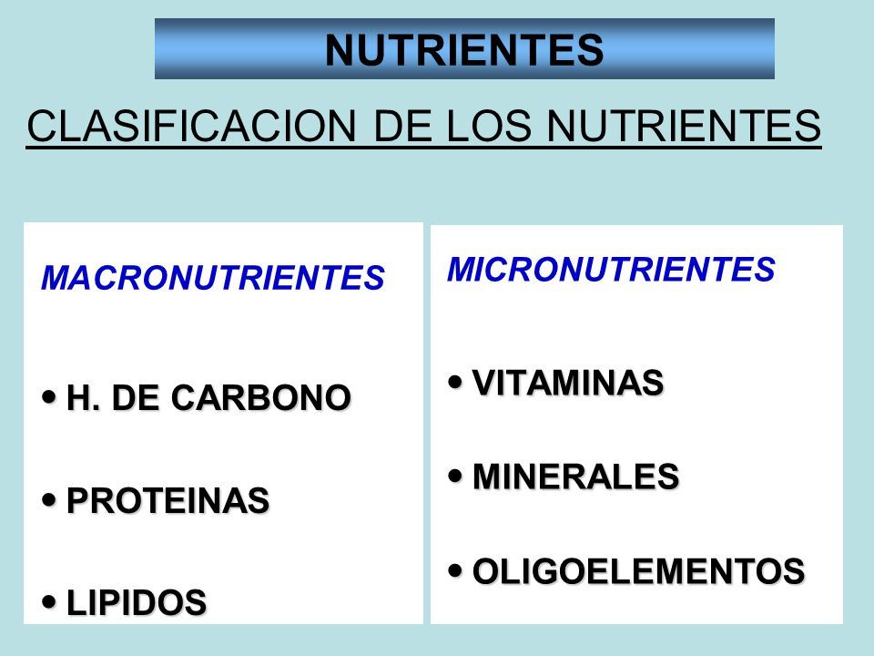 NUTRIENTES CLASIFICACION DE LOS NUTRIENTES H. DE CARBONO H. DE CARBONO PROTEINAS PROTEINAS LIPIDOS LIPIDOS VITAMINAS VITAMINAS MINERALES MINERALES OLI