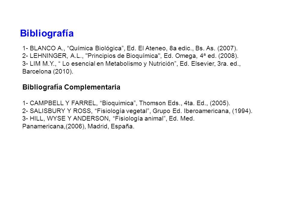 Bibliografía 1- BLANCO A., Química Biológica, Ed. El Ateneo, 8a edic., Bs. As. (2007). 2- LEHNINGER, A.L.,