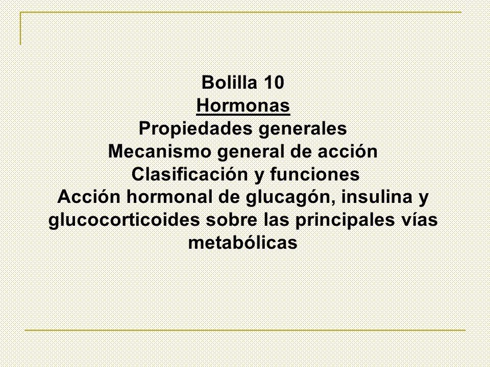 Bolilla 10 Hormonas Propiedades generales Mecanismo general de acción Clasificación y funciones Acción hormonal de glucagón, insulina y glucocorticoid
