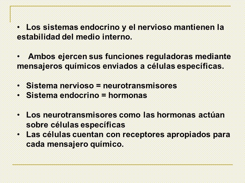Los sistemas endocrino y el nervioso mantienen la estabilidad del medio interno. Ambos ejercen sus funciones reguladoras mediante mensajeros químicos