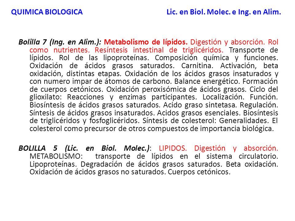 Bolilla 7 (Ing. en Alim.): Metabolismo de lípidos. Digestión y absorción. Rol como nutrientes. Resíntesis intestinal de triglicéridos. Transporte de l
