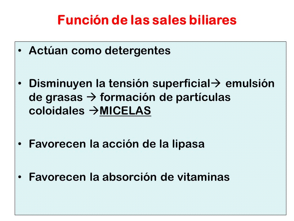 Función de las sales biliares Actúan como detergentes Disminuyen la tensión superficial emulsión de grasas formación de partículas coloidales MICELAS