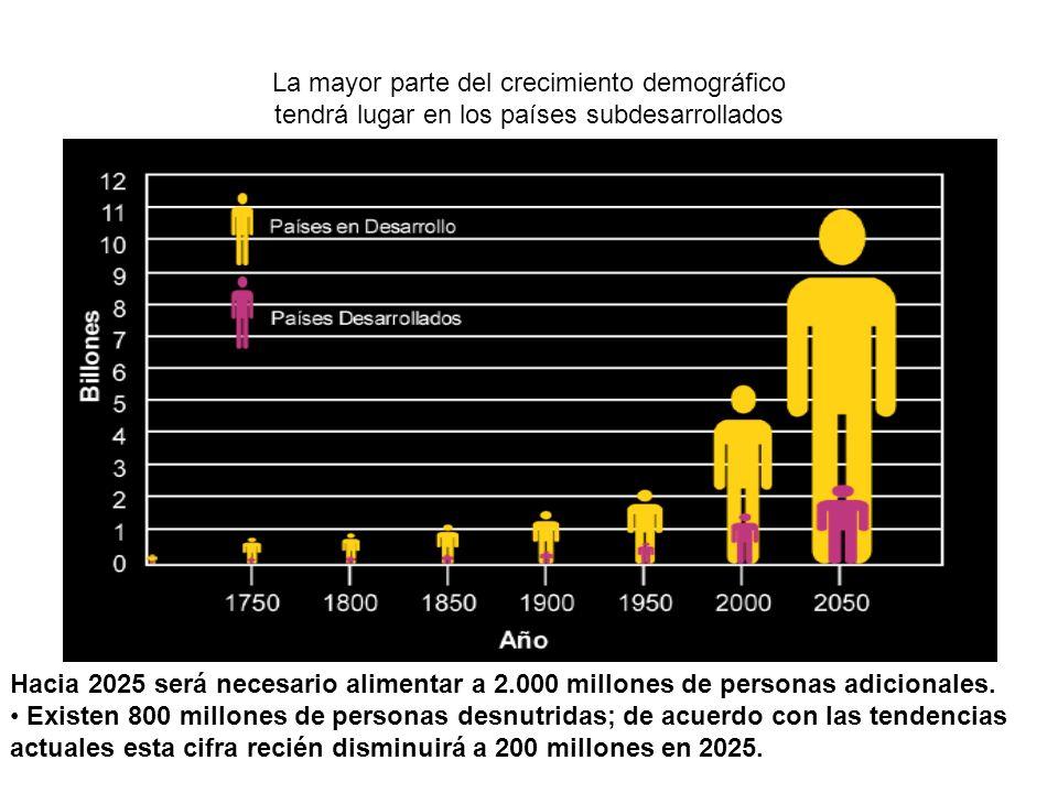 La mayor parte del crecimiento demográfico tendrá lugar en los países subdesarrollados Hacia 2025 será necesario alimentar a 2.000 millones de personas adicionales.