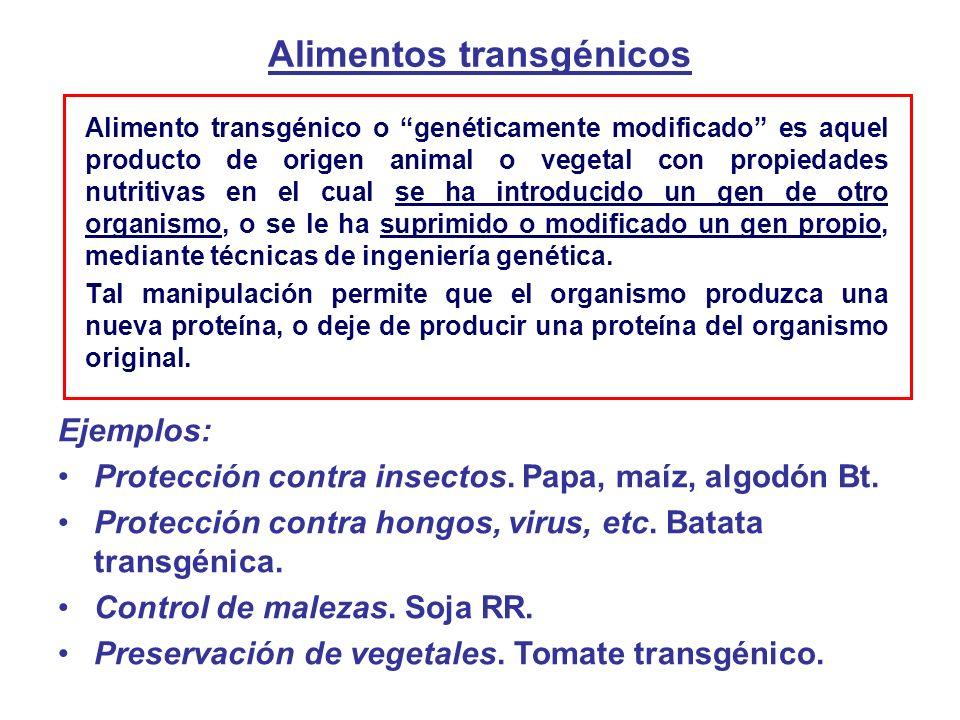 Alimentos transgénicos Alimento transgénico o genéticamente modificado es aquel producto de origen animal o vegetal con propiedades nutritivas en el cual se ha introducido un gen de otro organismo, o se le ha suprimido o modificado un gen propio, mediante técnicas de ingeniería genética.