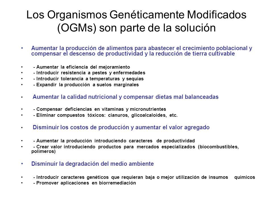 Productos farmacéuticos (Molecular Pharming) Otras características Introducidas