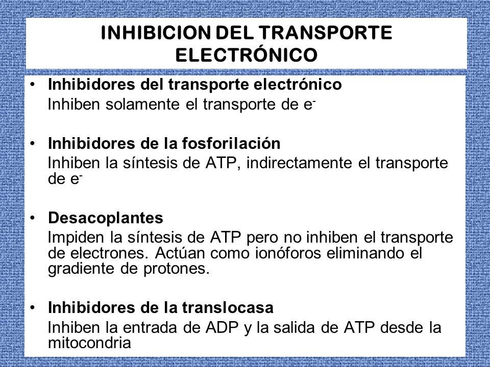 INHIBICION DEL TRANSPORTE ELECTRÓNICO Inhibidores del transporte electrónico Inhiben solamente el transporte de e - Inhibidores de la fosforilación In