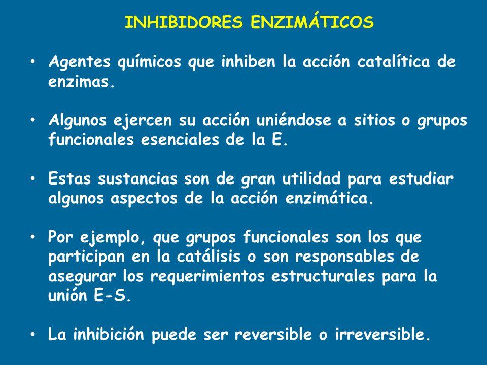 INHIBIDORES ENZIMÁTICOS Agentes químicos que inhiben la acción catalítica de enzimas. Algunos ejercen su acción uniéndose a sitios o grupos funcionale