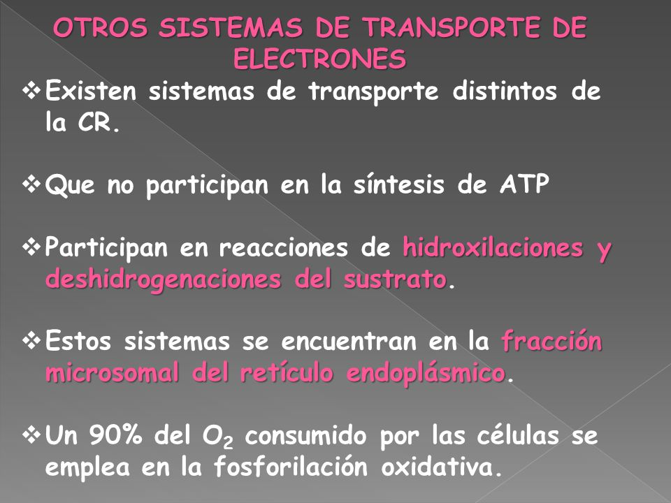 OTROS SISTEMAS DE TRANSPORTE DE ELECTRONES Existen sistemas de transporte distintos de la CR. Que no participan en la síntesis de ATP hidroxilaciones