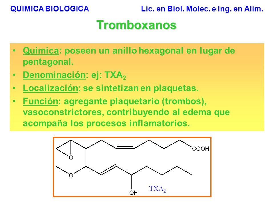 QUIMICA BIOLOGICA Lic.en Biol. Molec. e Ing. en Alim.