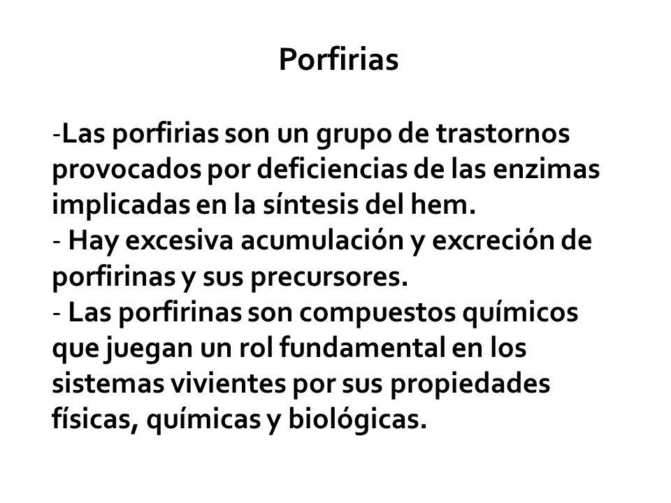 Porfirias -Las porfirias son un grupo de trastornos provocados por deficiencias de las enzimas implicadas en la síntesis del hem. - Hay excesiva acumu