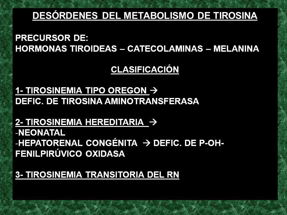 DESÓRDENES DEL METABOLISMO DE TIROSINA PRECURSOR DE: HORMONAS TIROIDEAS – CATECOLAMINAS – MELANINA CLASIFICACIÓN 1- TIROSINEMIA TIPO OREGON DEFIC. DE