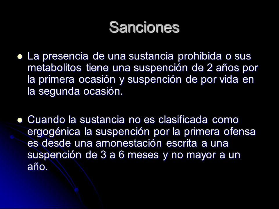 Sanciones La presencia de una sustancia prohibida o sus metabolitos tiene una suspención de 2 años por la primera ocasión y suspención de por vida en