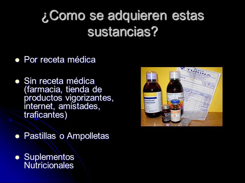 ¿Como se adquieren estas sustancias? Por receta médica Por receta médica Sin receta médica (farmacia, tienda de productos vigorizantes, internet, amis