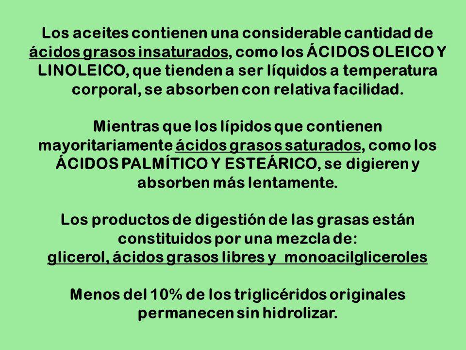 Los aceites contienen una considerable cantidad de ácidos grasos insaturados, como los ÁCIDOS OLEICO Y LINOLEICO, que tienden a ser líquidos a tempera