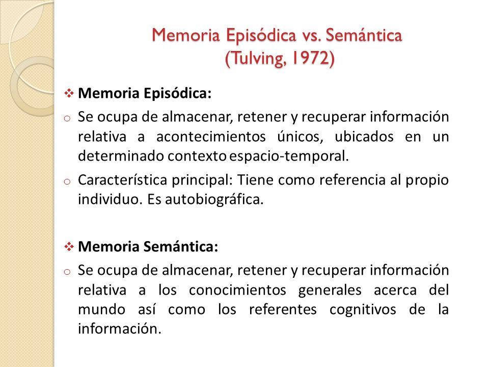 Memoria Episódica vs. Semántica (Tulving, 1972) Memoria Episódica: o Se ocupa de almacenar, retener y recuperar información relativa a acontecimientos