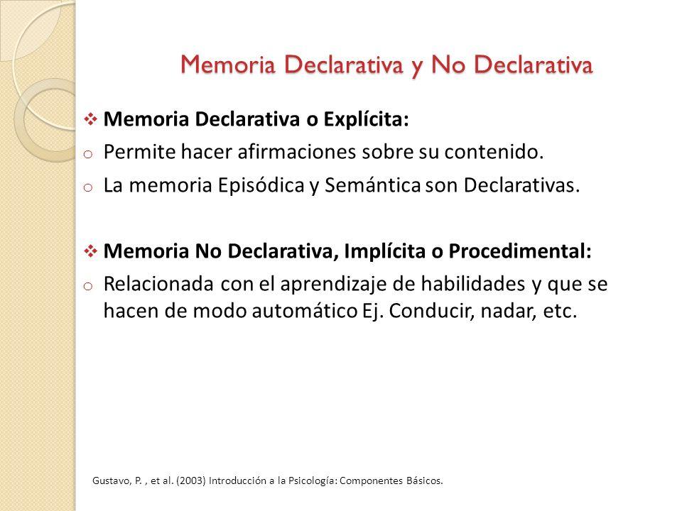 Memoria Declarativa y No Declarativa Memoria Declarativa o Explícita: o Permite hacer afirmaciones sobre su contenido. o La memoria Episódica y Semánt