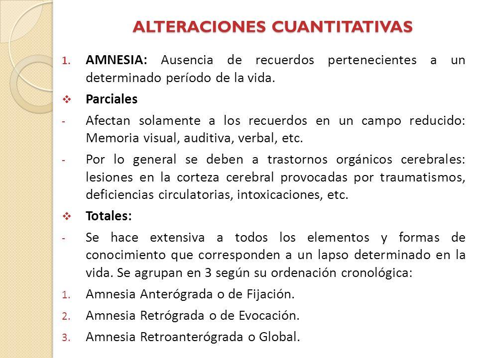 ALTERACIONES CUANTITATIVAS 1. AMNESIA: Ausencia de recuerdos pertenecientes a un determinado período de la vida. Parciales - Afectan solamente a los r