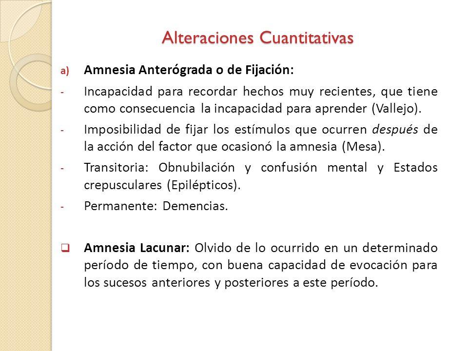 Alteraciones Cuantitativas a) Amnesia Anterógrada o de Fijación: - Incapacidad para recordar hechos muy recientes, que tiene como consecuencia la inca