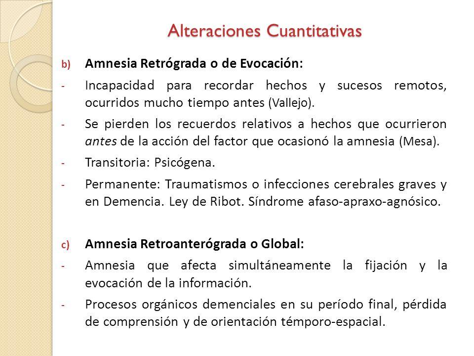 Alteraciones Cuantitativas b) Amnesia Retrógrada o de Evocación: - Incapacidad para recordar hechos y sucesos remotos, ocurridos mucho tiempo antes (V