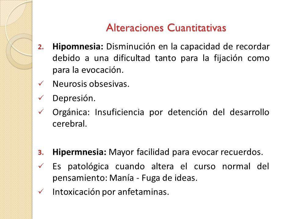 Alteraciones Cuantitativas 2. Hipomnesia: Disminución en la capacidad de recordar debido a una dificultad tanto para la fijación como para la evocació