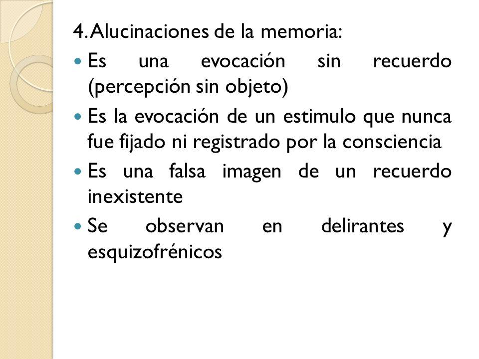 4. Alucinaciones de la memoria: Es una evocación sin recuerdo (percepción sin objeto) Es la evocación de un estimulo que nunca fue fijado ni registrad