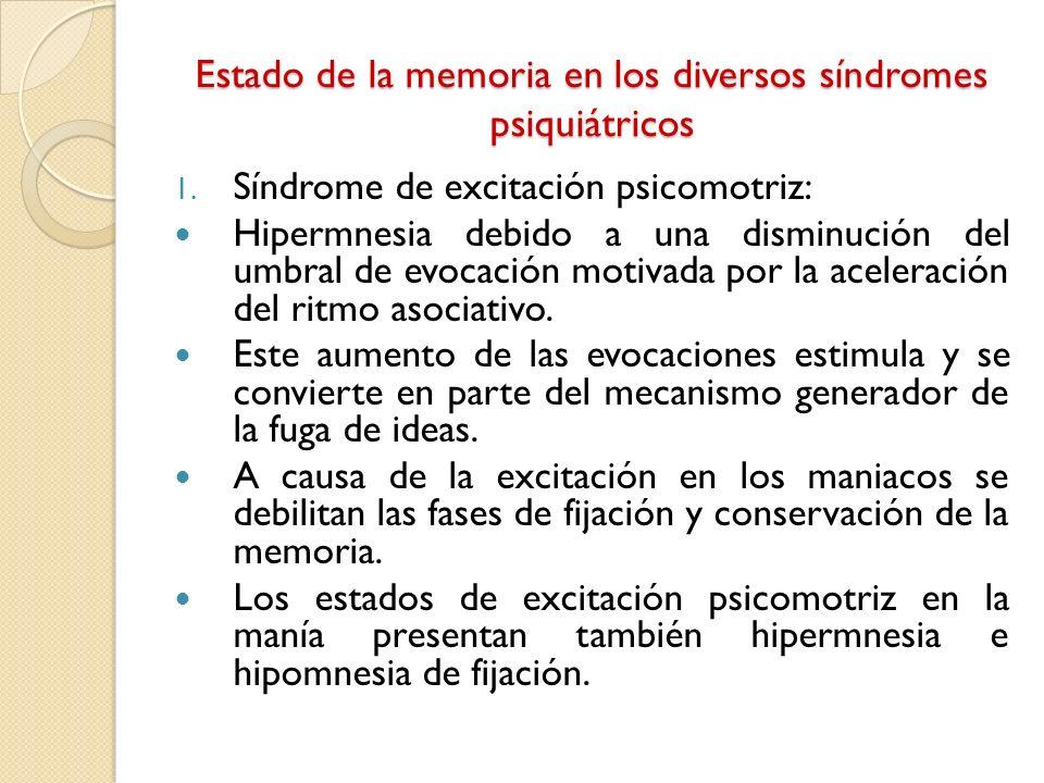 Estado de la memoria en los diversos síndromes psiquiátricos 1. Síndrome de excitación psicomotriz: Hipermnesia debido a una disminución del umbral de