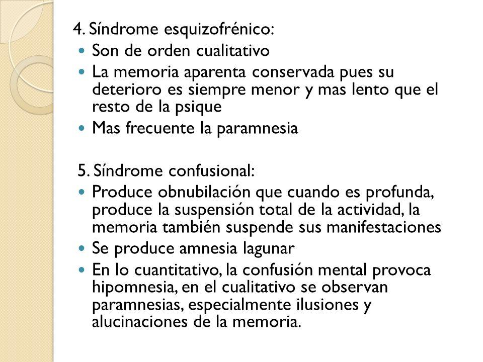 4. Síndrome esquizofrénico: Son de orden cualitativo La memoria aparenta conservada pues su deterioro es siempre menor y mas lento que el resto de la