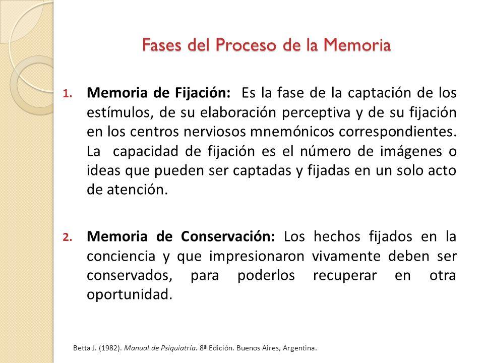 Fases del Proceso de la Memoria 1. Memoria de Fijación: Es la fase de la captación de los estímulos, de su elaboración perceptiva y de su fijación en