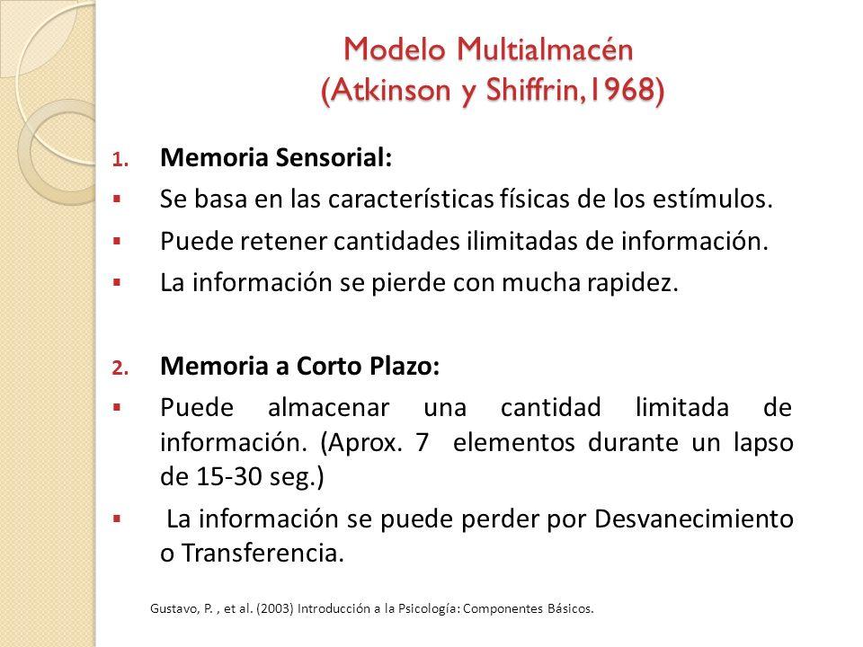 Modelo Multialmacén (Atkinson y Shiffrin,1968) 1. Memoria Sensorial: Se basa en las características físicas de los estímulos. Puede retener cantidades
