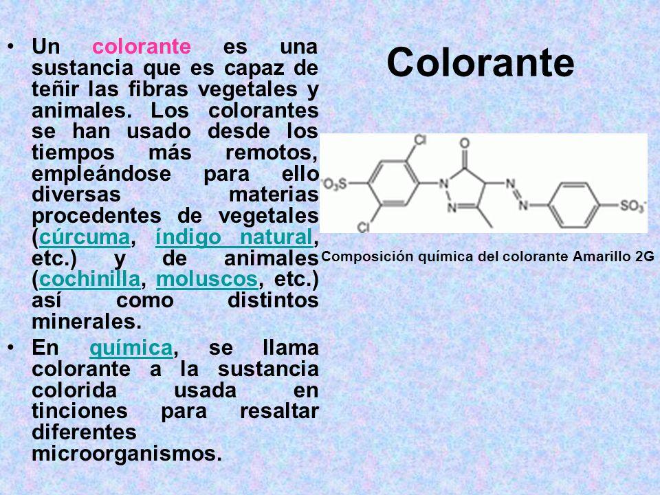 Colorante Un colorante es una sustancia que es capaz de teñir las fibras vegetales y animales. Los colorantes se han usado desde los tiempos más remot