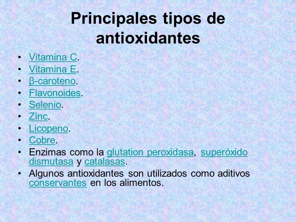 Principales tipos de antioxidantes Vitamina C.Vitamina C Vitamina E.Vitamina E β-caroteno.β-caroteno Flavonoides.Flavonoides Selenio.Selenio Zinc.Zinc