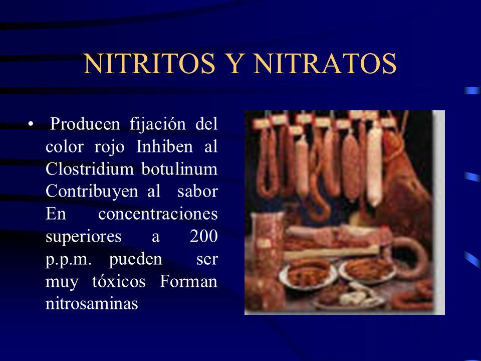 NITRITOS Y NITRATOS Producen fijación del color rojo Inhiben al Clostridium botulinum Contribuyen al sabor En concentraciones superiores a 200 p.p.m.