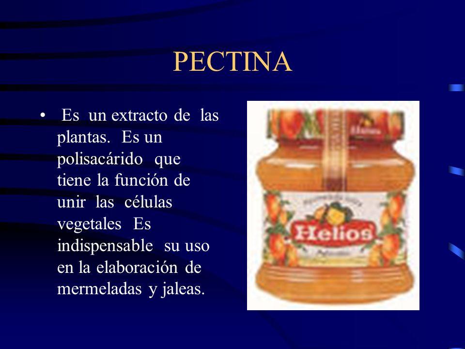 PECTINA Es un extracto de las plantas. Es un polisacárido que tiene la función de unir las células vegetales Es indispensable su uso en la elaboración