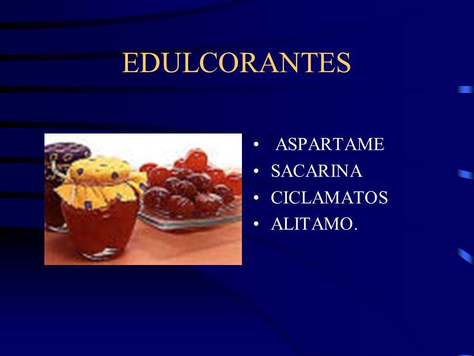 EDULCORANTES ASPARTAME SACARINA CICLAMATOS ALITAMO.